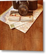 Camera Map And Postcards Metal Print