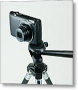 Camera On Tripod Metal Print