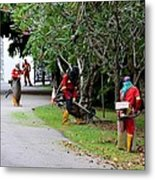 Camouflaged Leaf Blowers Working In Singapore Park Metal Print