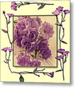 Campanula Framed With Pressed Petals Metal Print