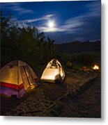 Campfire And Moonlight Metal Print