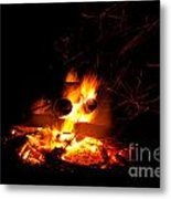 Campfire As A Symbol Of Warmth And Life On Black Metal Print