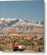 Camping With Laptop Metal Print