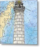 Cana Island Lighthouse Wi Nautical Chart Map Art Metal Print