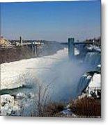 Canada And America At Niagara Falls Metal Print