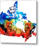 Canada - Canadian Map By Sharon Cummings Metal Print