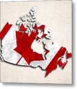 Canada Map Art With Flag Design Metal Print