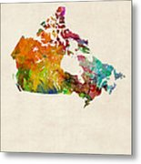 Canada Watercolor Map Metal Print