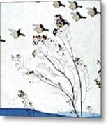 Canadian Geese Over Brown-leafed Trees Metal Print