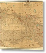 Canadian Mounted Police Map Metal Print