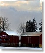 Canadian Snowy Farm Metal Print