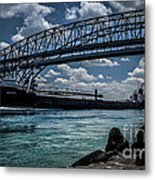 Canadian Tranfer Under Blue Water Bridges Metal Print