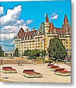 Canadian War Memorial And Chateau Laurier In Ottawa-ontario  Metal Print