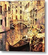 Canal And Docked Gondolas In Venice Metal Print
