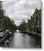 Canal Behind Oude Kerk In Amsterdam Metal Print