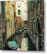 Canal Boats And Reflections Venice Italy Metal Print by Marianne Campolongo