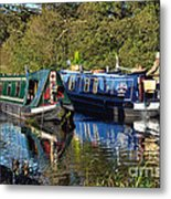 Canal Boats Passing Metal Print