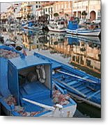 Canal In Grado With Fishing Boats Metal Print