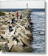 Canal Swim Risky Behavior Metal Print