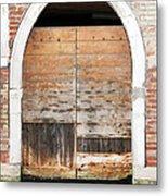 Canalside Weathered Door Venice Italy Metal Print