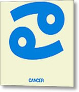 Cancer Zodiac Sign Blue Metal Print