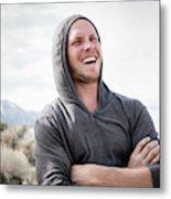 Candid Portrait Of Laughing Young Metal Print