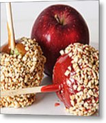 Candied Caramel And Regular Red Apple Metal Print