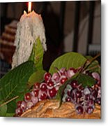 Candle And Grapes Metal Print by Marcia Socolik