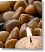 Candle On The Rocks Metal Print