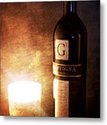 Candle Wine Metal Print