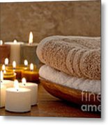 Candles And Towels In A Spa Metal Print