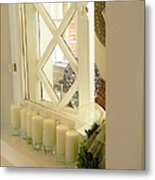 Candles And Wicker And Window Metal Print