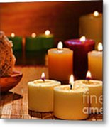 Candles Burning In A Spa  Metal Print