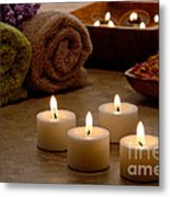 Candles In A Spa Metal Print