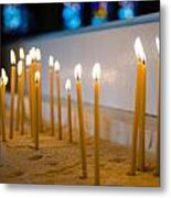 candles in the Catholic Church shallow depth of field Metal Print