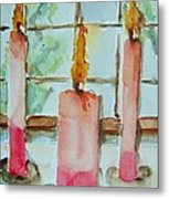 Candles In The Wind-ow Metal Print