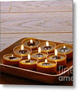 Candles In Wood Tray Metal Print