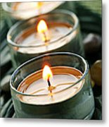 Candles On Green Metal Print