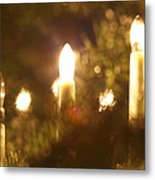 Candles Seen Through A Fir Tree Metal Print