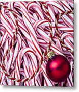 Candy Cane And Red Ornament Metal Print