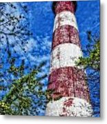 Candy Cane Lighthouse Metal Print