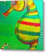Candy Cane Seahorse Metal Print
