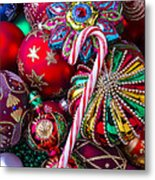 Candy Canes And Colorful Ornaments Metal Print
