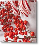 Candy Canes And Red Berries Metal Print