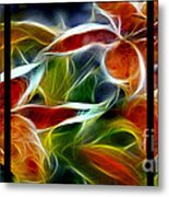 Candy Lily Fractal Triptych Metal Print