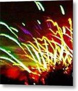 Candy Stripe Fireworks Metal Print