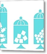Canisters In Turquoise Metal Print