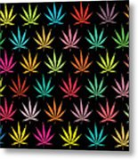 Cannabis Leaf Multi-coloured Pattern Metal Print