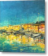 Cannes By Night Metal Print