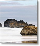 Cannon Beach Early Morning Mist Metal Print